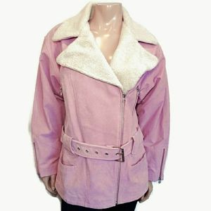 MODA INTERNATIONAL Leather Sherpa Moto Jacket Coat